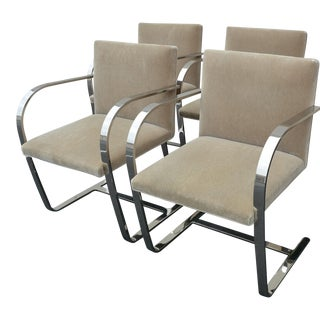 Brno Chrome Flat Bar Chairs by Mies Van Der Rohe for Knoll - Set of 4