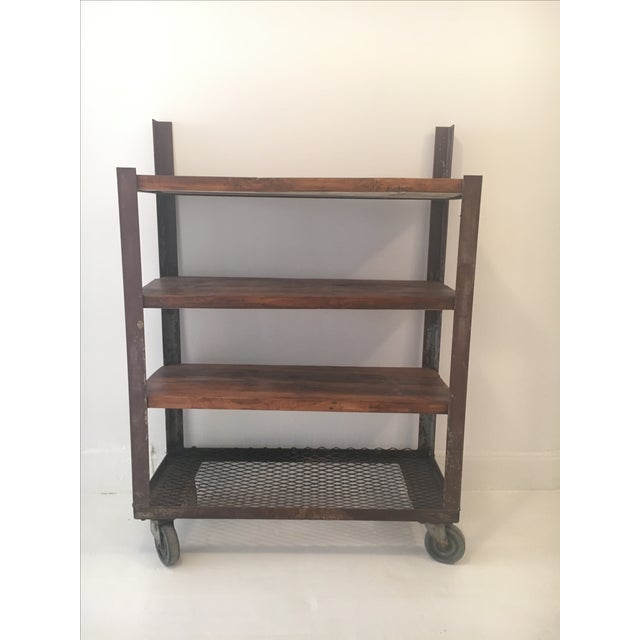 Image of Reclaimed Wood and Rustic Metal Shelving Unit