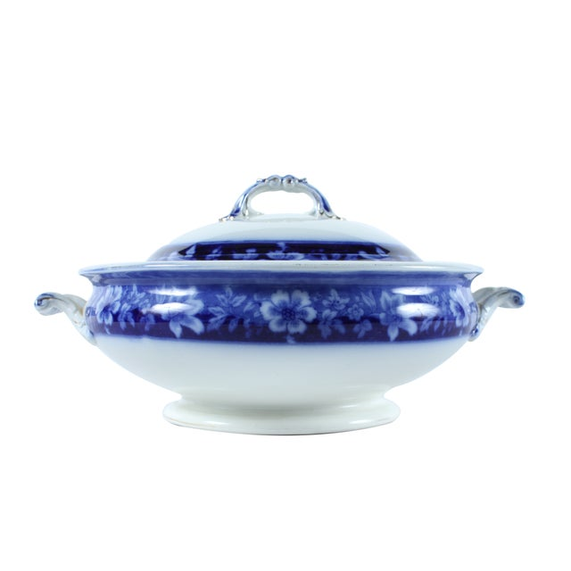 Image of Flow Blue Turin by JB, Tureen With Lid