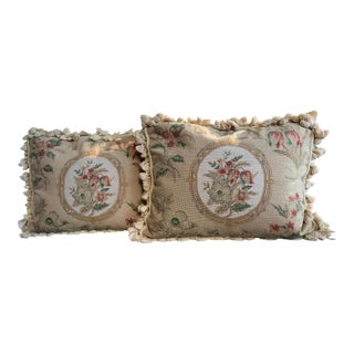 Floral Petit Point Needlepoint Pillows With Tassel Trim - a Pair