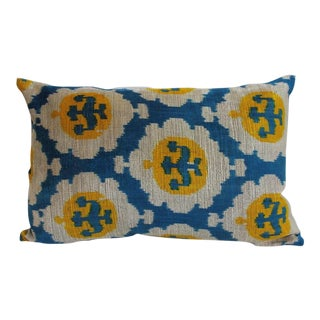 Yellow & Blue Silk Velvet Pillow