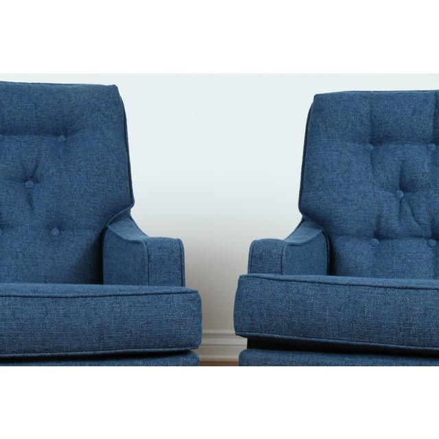 Mid-Century Blue Tufted Lounge Chairs - A Pair - Image 6 of 7