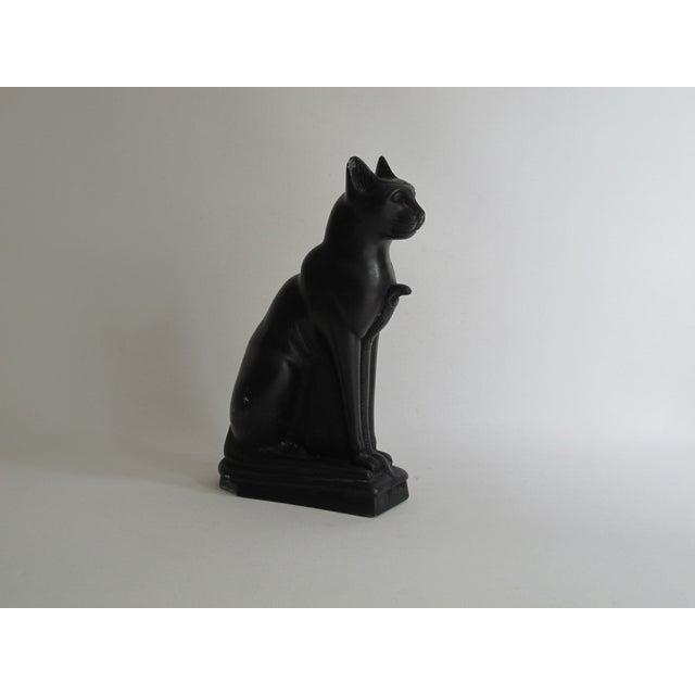 Image of Egyptian Black Cat Carved Stone Sculpture