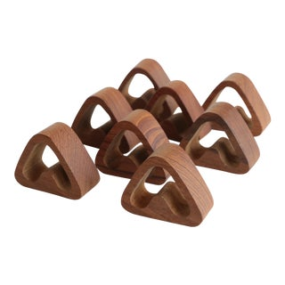 Mid Century Teak Napkin Rings - Set of 8