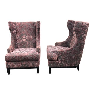 Bernhardt Pascal Contemporary Wingback Chairs - a Pair