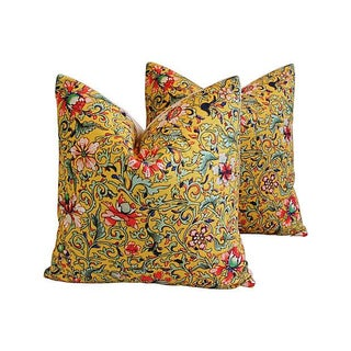 Colorful Asian Floral Linen Pillows - a Pair