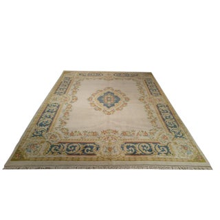 Traditional Handmade Knotted Aubusson Design Rug - 9x12