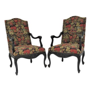 French Style Ebonized Armchairs - A Pair