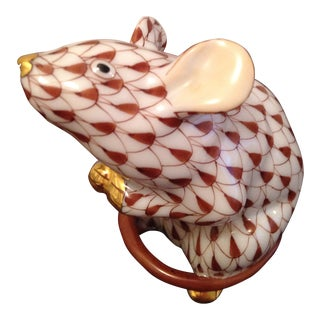 Gold Accented Herend Mouse Figurine