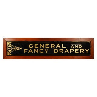 General and Fancy Drapery Reverse Painted Glass Sign