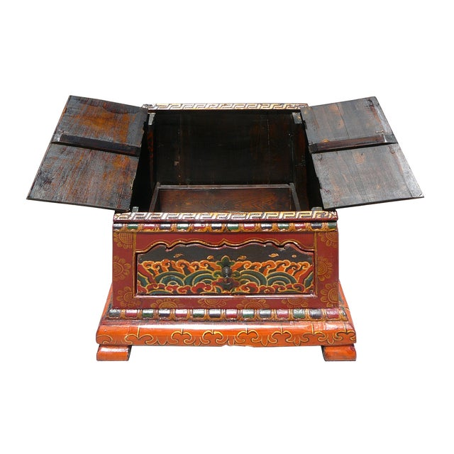 Tibetan Graphic Carved Wood Trunk - Image 4 of 4