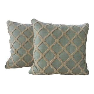 Spa Blue & Cream Linen, Chenille, & Velvet Pillows - a Pair