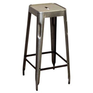 Industrial Gray Metal Stool