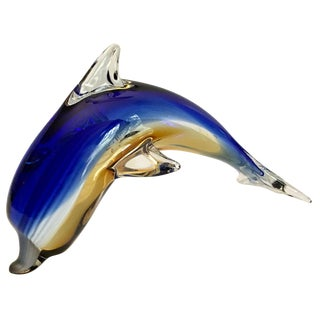 Vintage Handblown Art Glass Dolphin