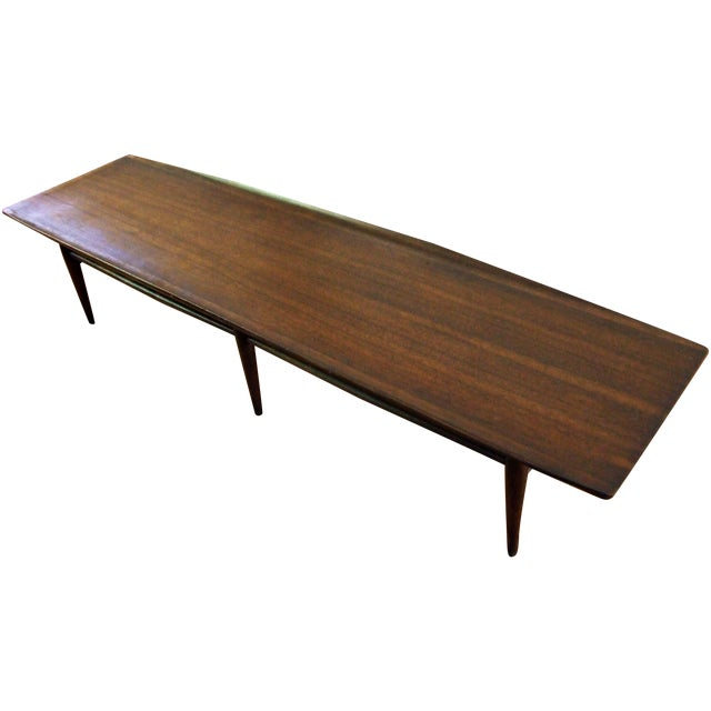 Bassett Walnut Surfboard Coffee Table: Mid-Century Bassett Surfboard Coffee Table