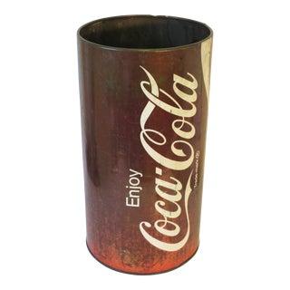 Vintage Metal Coca Cola Trash Can