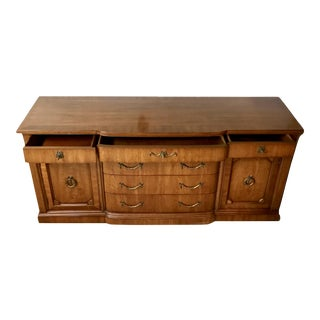 Vintage Solid Wood Light Walnut Buffet or Sideboard