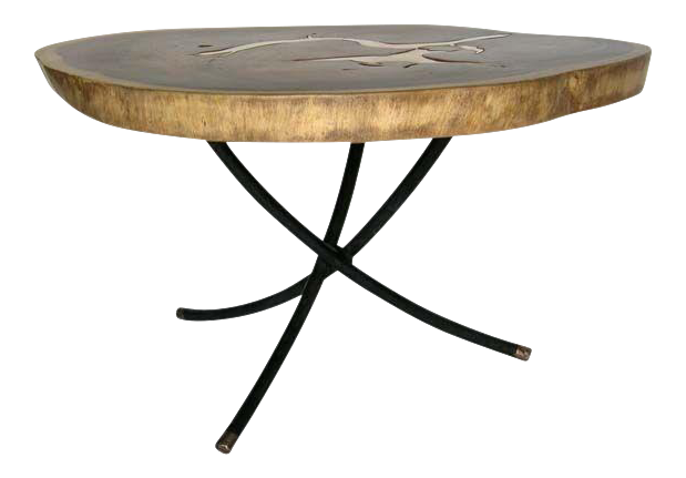 teak and bronze table - Tables