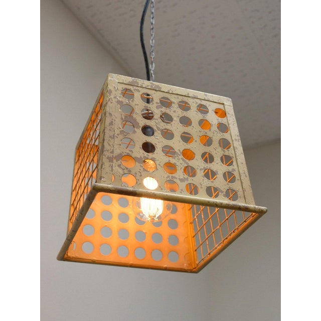 Image of Vintage Barn Metal Pendant Hanging Light - Yellow
