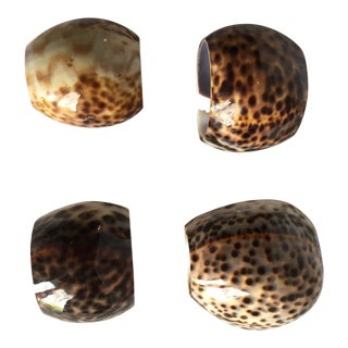 Natural Cheetah Cowry Shell Napkin Rings - Set of 4
