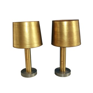 Industrial Lamps with Engine Turned Bases - A Pair