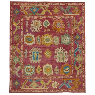 "Contemporary Turkish Raspberry Oushak Rug -- 8'4"" x 10'"