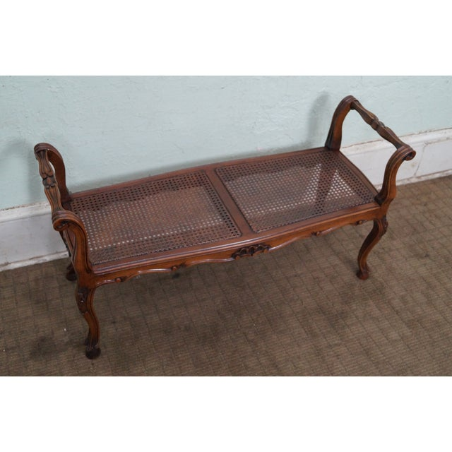 Italian Made French Louis XV Style Cane Seat Bench - Image 2 of 10