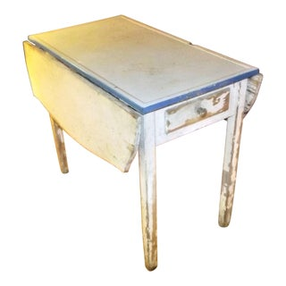 Shabby Chic Enamel Top Farm House Drop Leaf Table