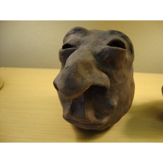 Image of Vintage 1979 Head Vase Pottery Sculptures - A Pair