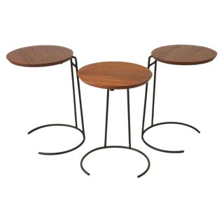 Jens Risom Wrought Iron & Walnut Stacking Tables - Set of 3