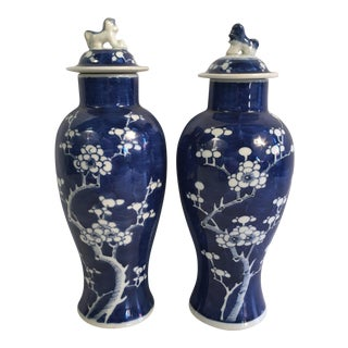 Antique Blue & White Chinoiserie Temple Jars - A Pair