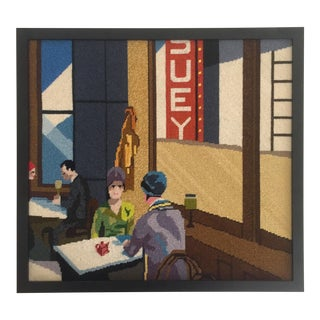 "Edward Hopper ""Chop Suey"" Framed Needlepoint Textile Art"