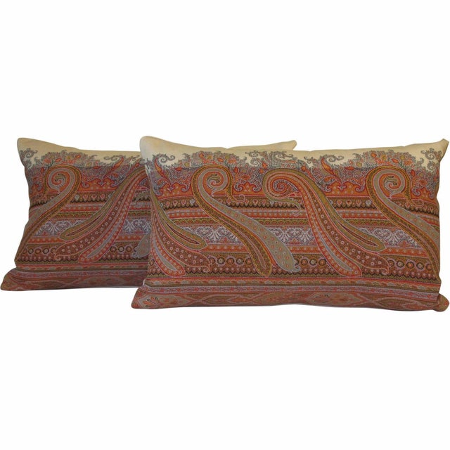19th Century Scottish Wool Paisley Pillows - Pair - Image 1 of 3