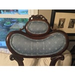 Image of Antique Victorian Blue Parlor Chair