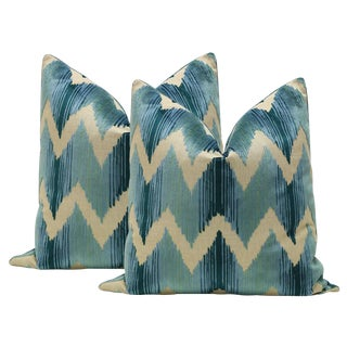 Watersedge Aqua Velvet Pillows - A Pair