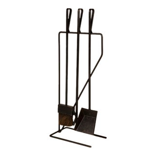 Modernist Wrought Iron Fireplace Tool Set after George Nelson