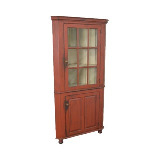 Oley Valley Reproductions 18th Century Style Red Painted Primitive Corner Cabinet Cupboard