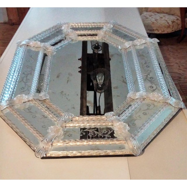 Large Vintage Venetian Etched Octagonal Wall Mirror - Image 2 of 6