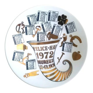 Piero Fornasetti Porcelain Calendar Plate for the Year 1972.
