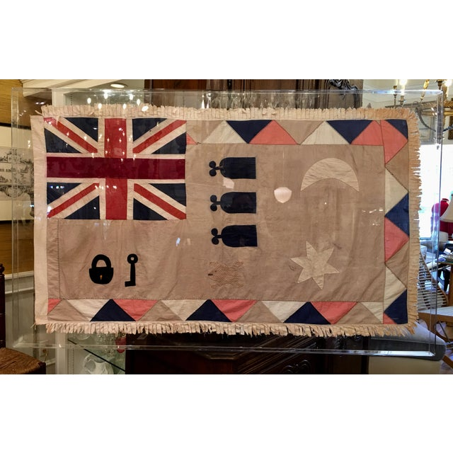 Antique British Colony Flag in Lucite Frame - Image 2 of 7