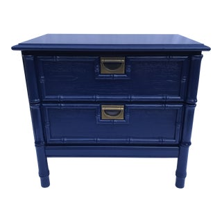 Navy Faux Bamboo Side Table