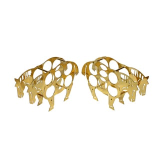 Italian Brass Horse Motif Wine Racks - A Pair