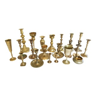 Brass Candlestick & Chalice Collection - Set of 21