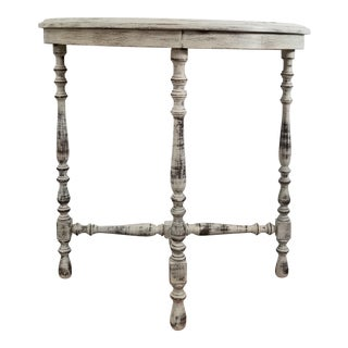 Shabby Chic Distressed White Table Half Moon Table