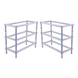 Palm Beach Style 3-Tiered Side Tables - A Pair