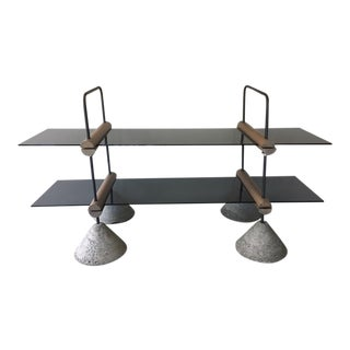 Concrete Wood & Metal Two-Tier Glass Display Shelf