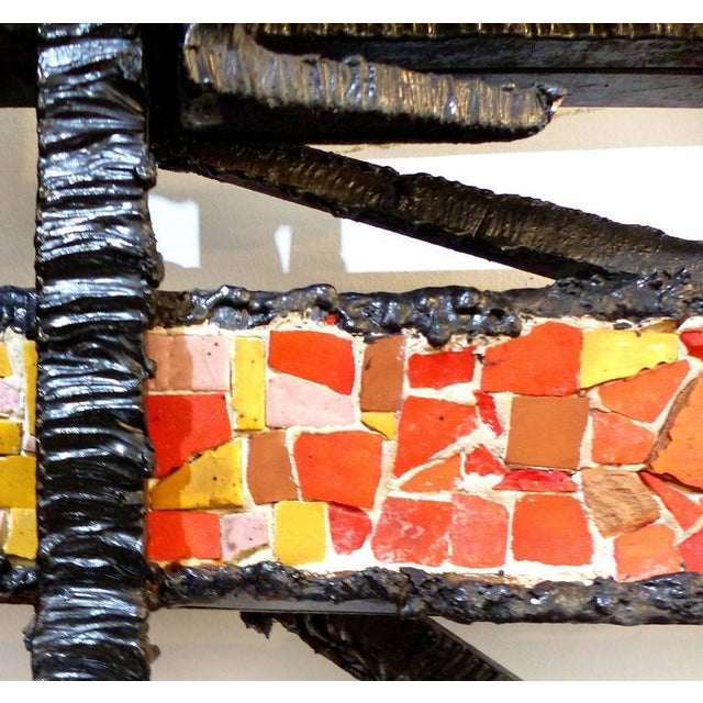 1920s French Abstract Iron & Mosaic Tile Wall Sculpture - Image 9 of 11
