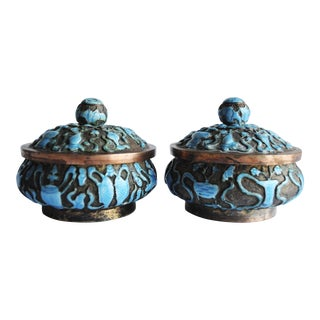 Vintage Brass Cloisonné Boxes