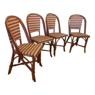 Glac Seat Poitoux Parisian Style Caned & Rattan Bistro Chairs - Set of 4