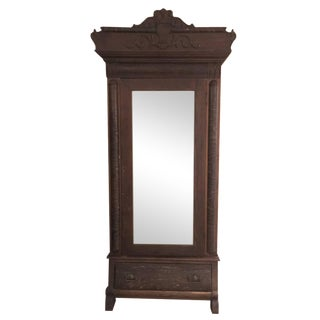 Vintage Wood Wardrobe Armoire With Mirror